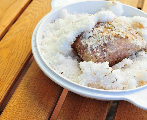 Lomo de cerdo con puré de castañas